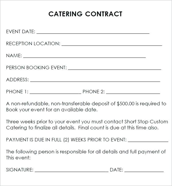Contract Sample In Word | Best Of Catering Contract Template Word Event Template